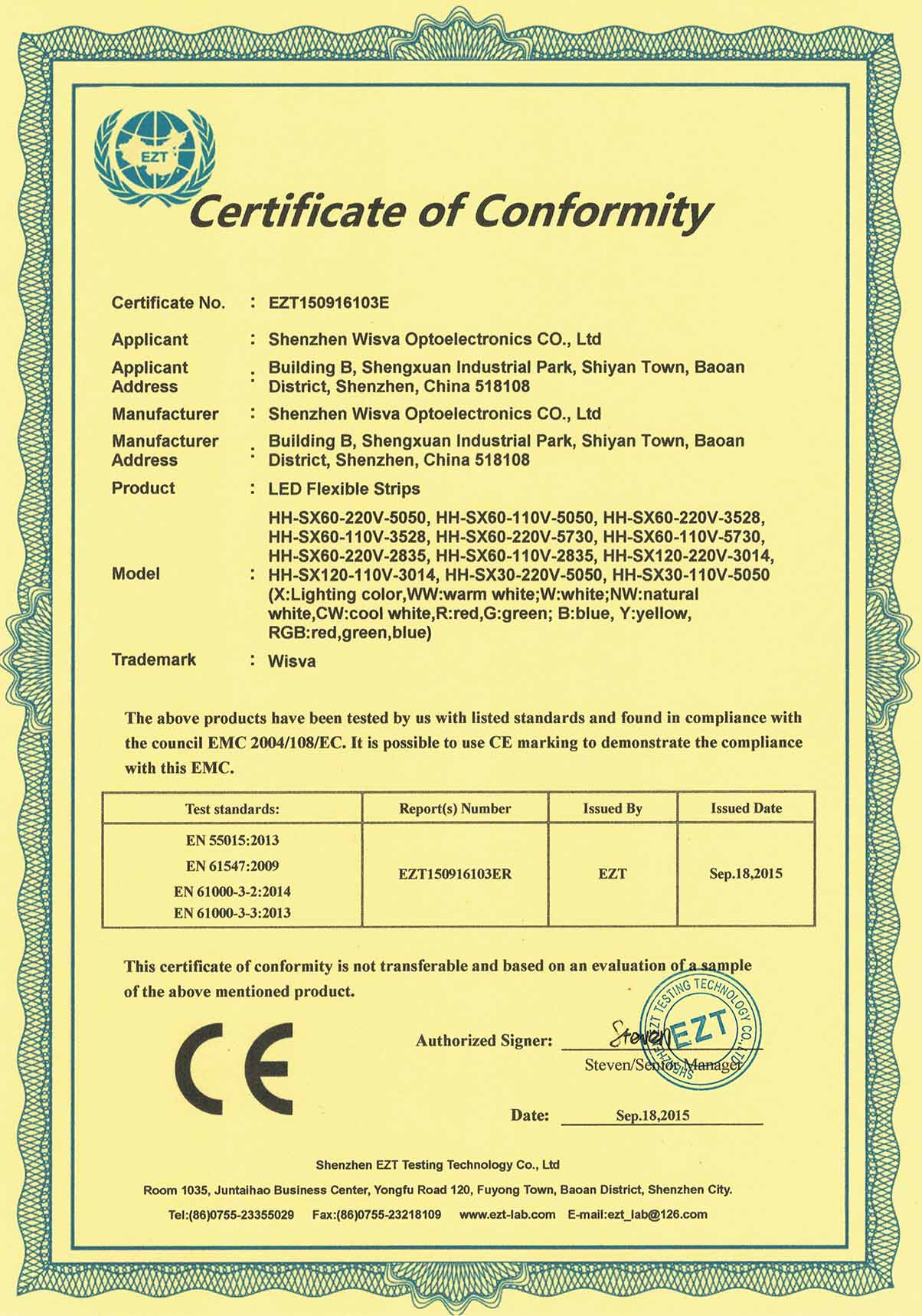 CE-EMC Certificate for High Voltage Strip