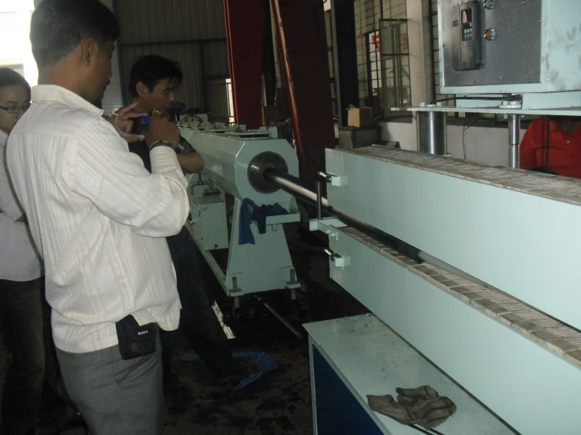 Testing HDPE pipe extrusion line