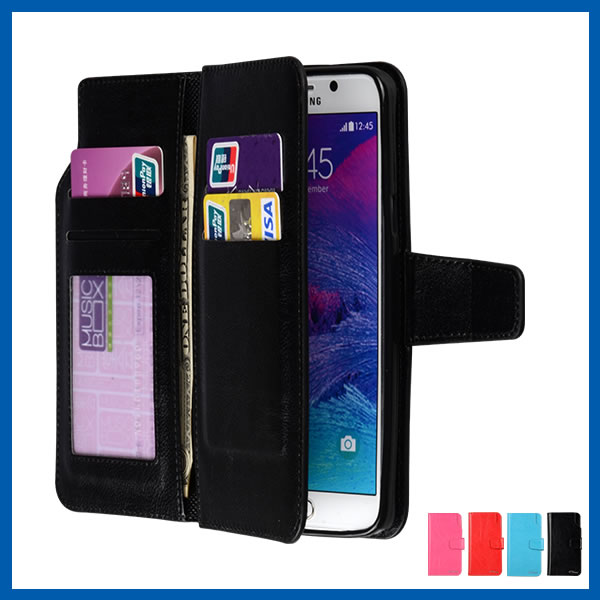 Leather Wallet Case with Card ID Slot for Samsung S6