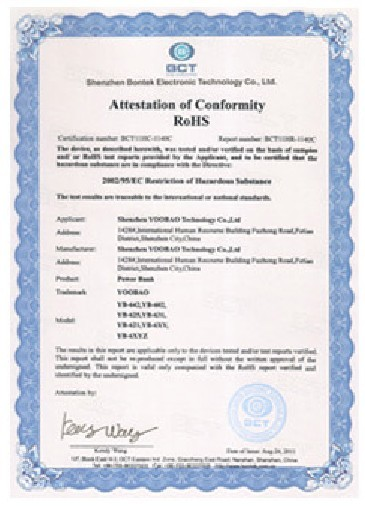 Supplier's RoHS certificate
