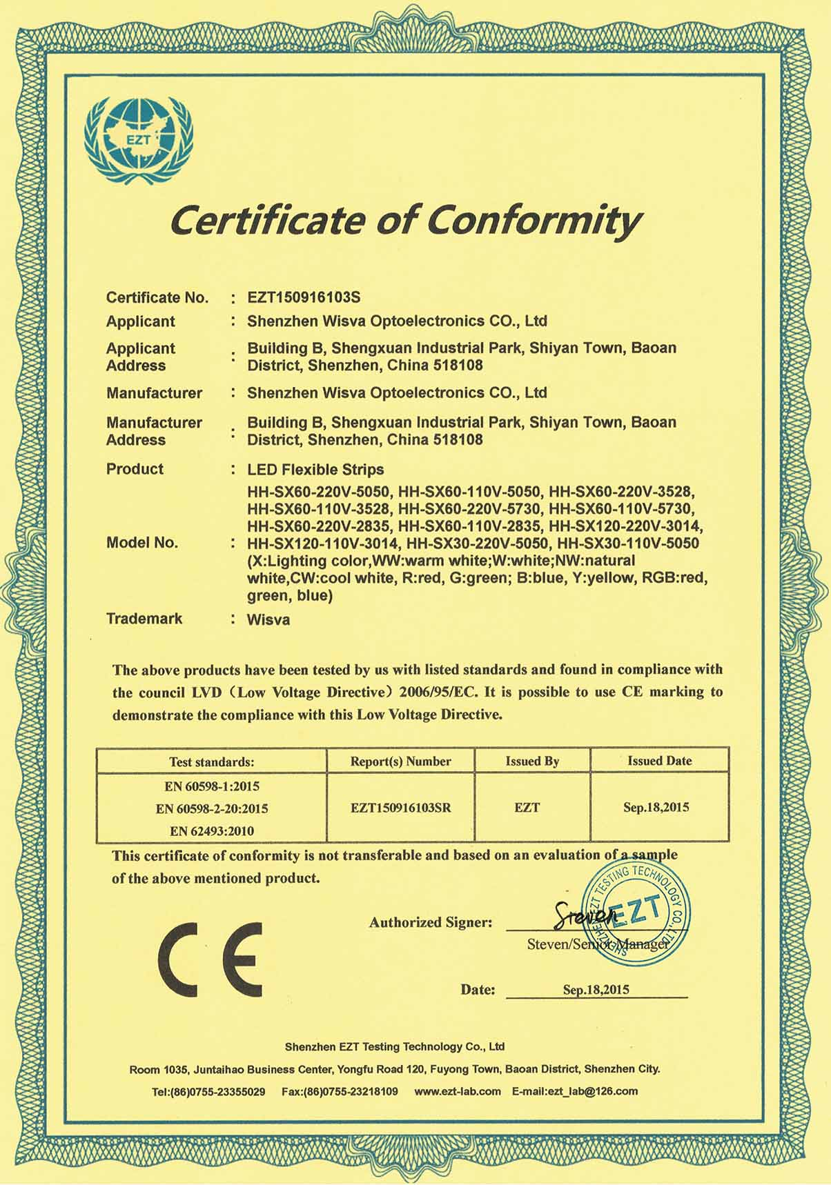 CE-LVD Certificate for High Voltage Strip