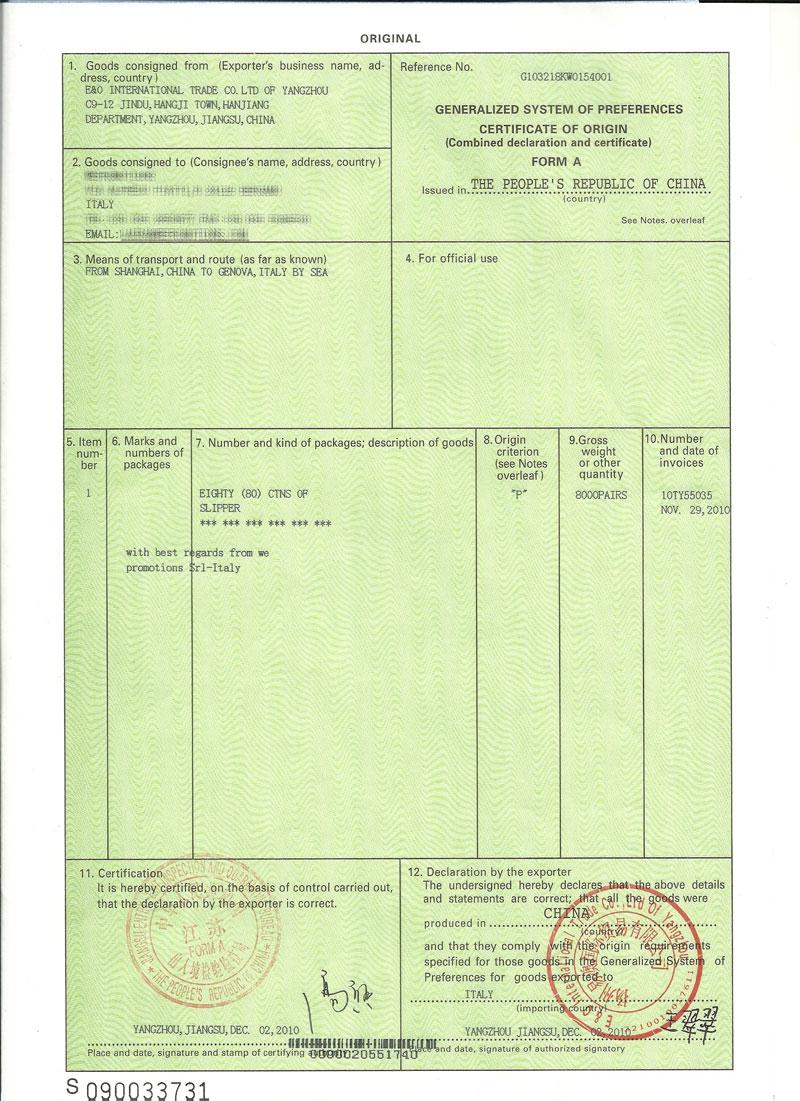 Certificate Of Origin Form NonPreferential Certificate of Origin – Generic Certificate of Origin Template