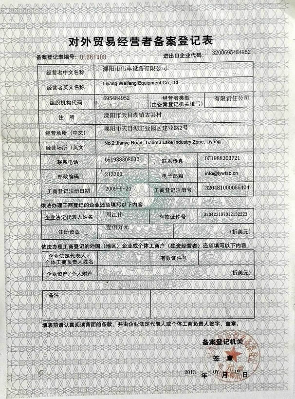 License fo doing foreign trade business