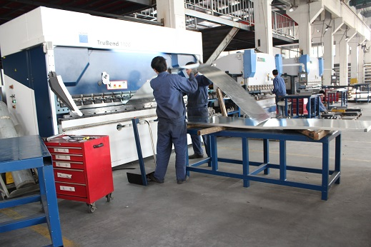Factory steel sheeting processing for enclosure