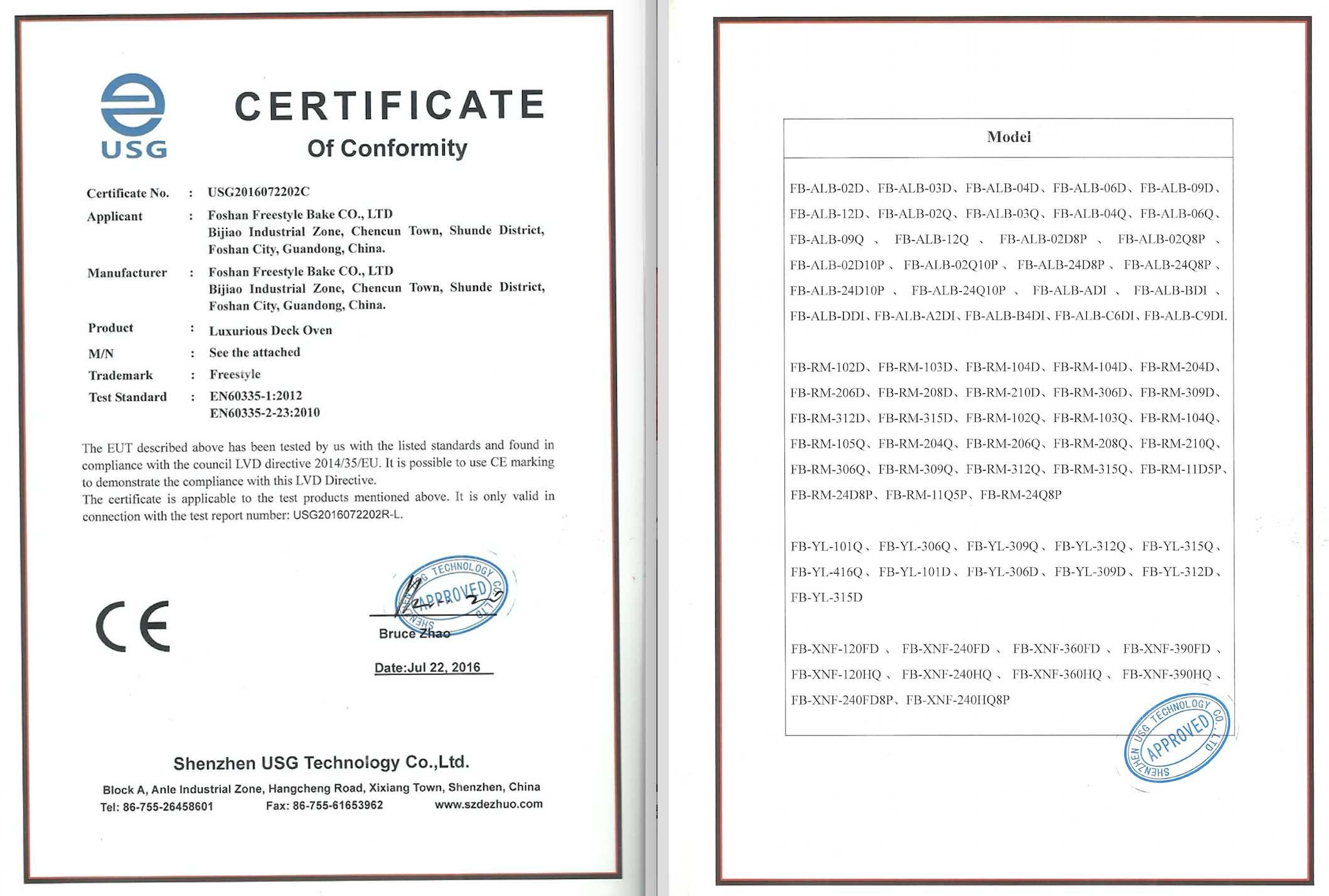CE Certificata of LVD