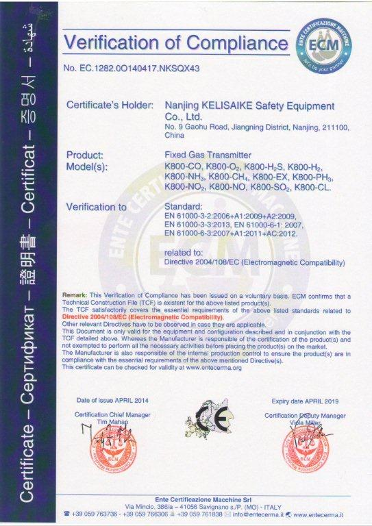 K800 fixed gas transmitter CE certificate