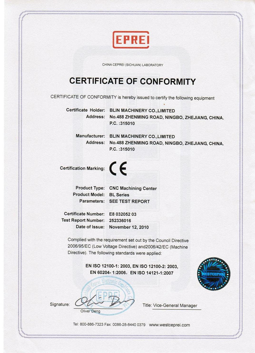 CE Certificate of CNC Machining Center