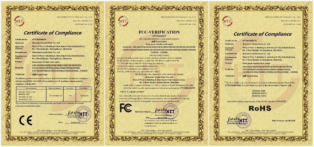 CE ROHS and FCC Certification