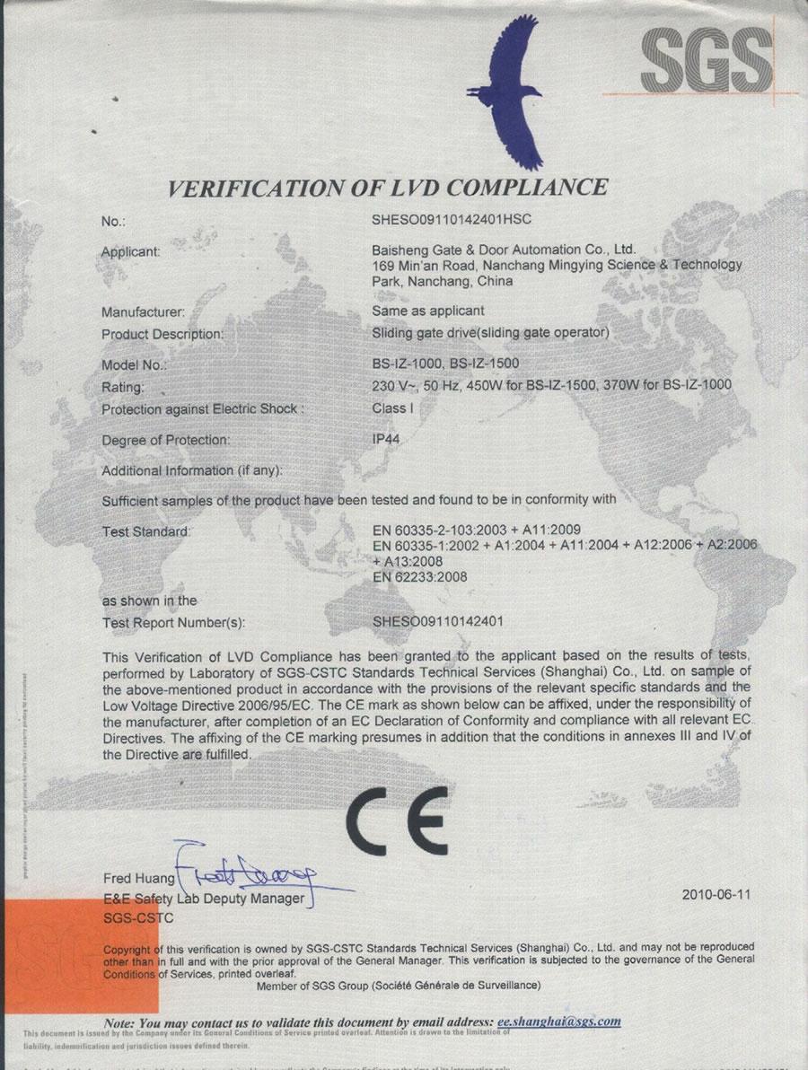 Sliding Gate Operator BS-IZ(LVD of CE)