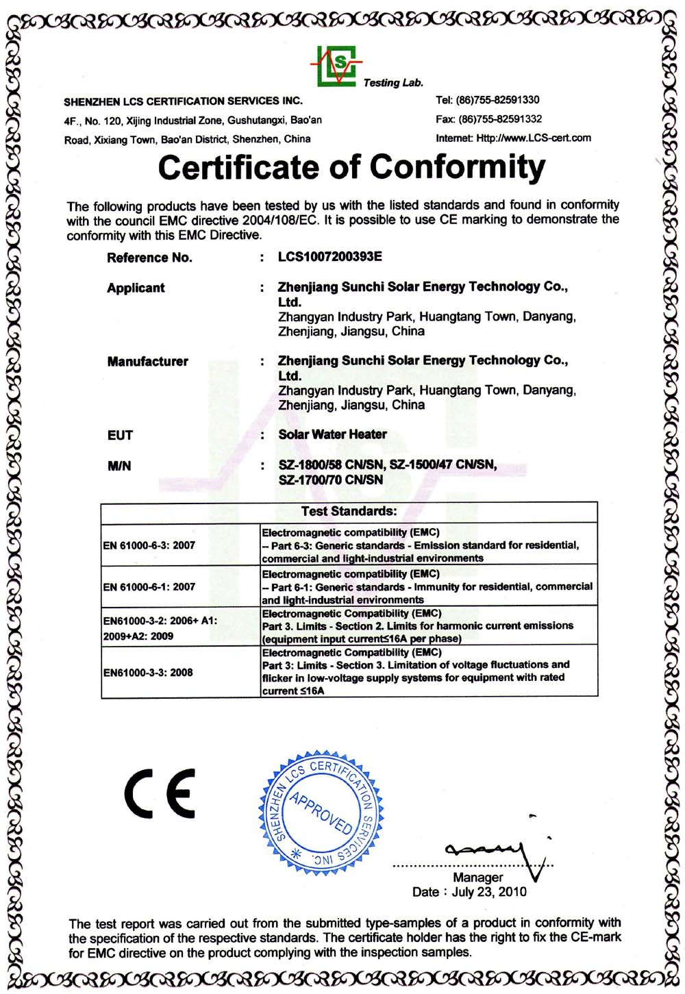 CE for Solar Water Heater