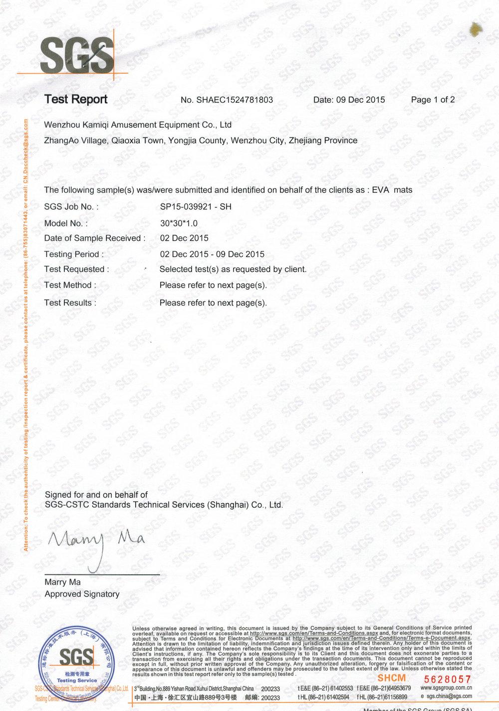 Formamide test report