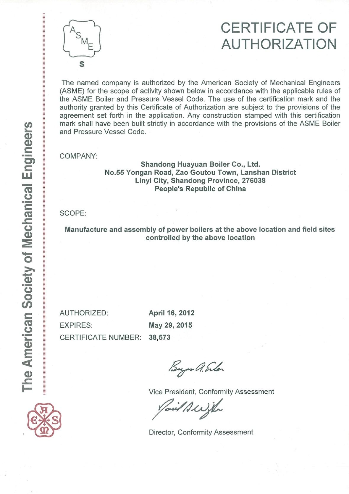 ASME certificates