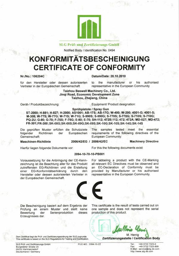Air Spray Gun CE certificate