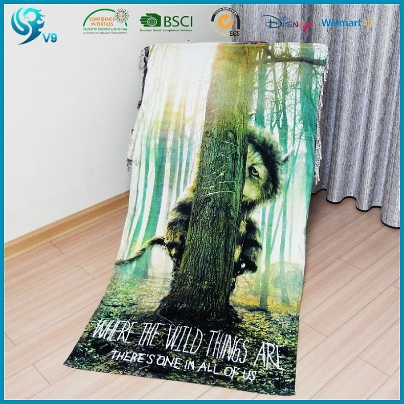 100% cotton velour reactive printed custom beach towel