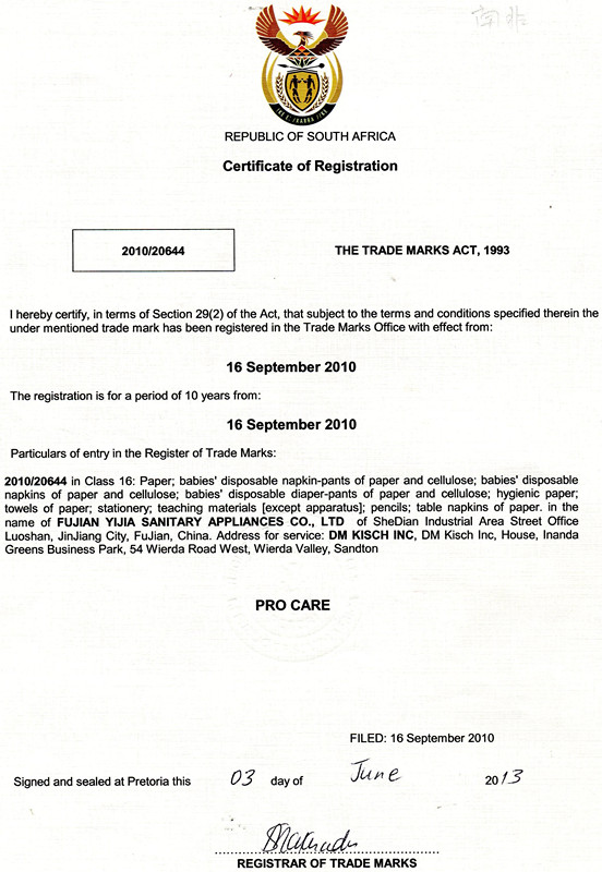 Certificate of Registration of ProCare