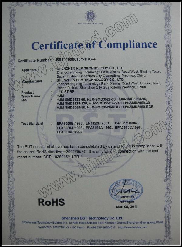 Hjm LED Stirp RoHS Certification