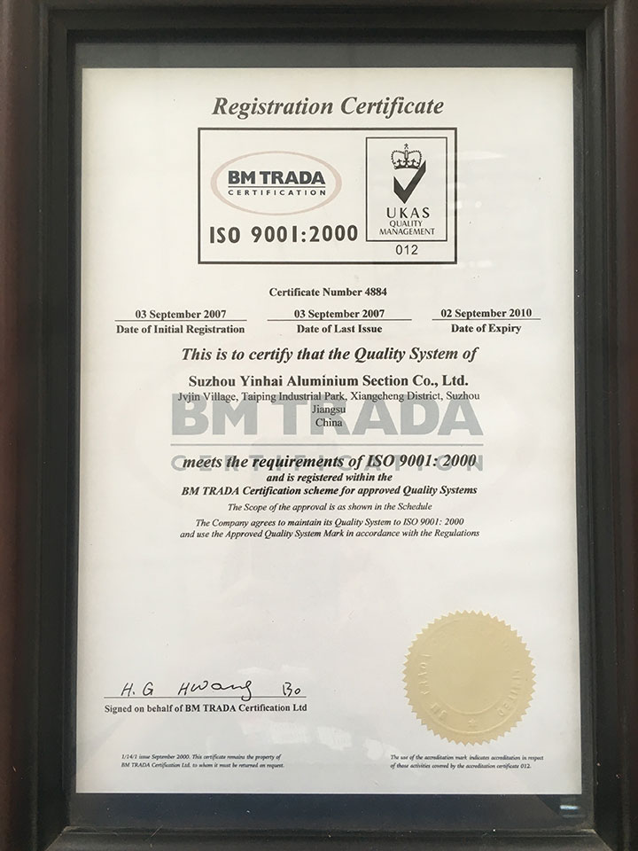 ISO 9001:2000 Registration Certificate