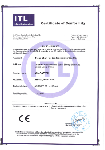 AC Adapter CE /LVD Certification