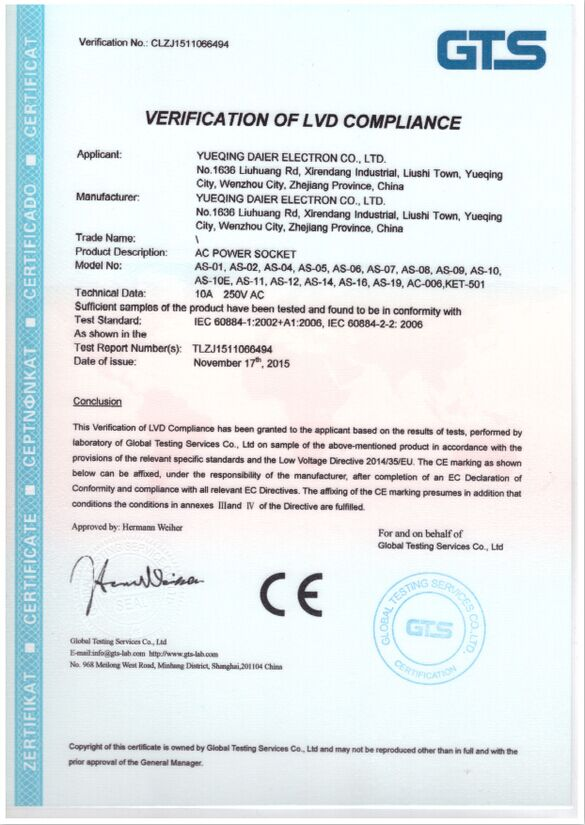 CE CERTIFICATE of AC SOCKET
