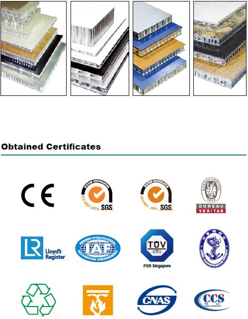 Certificates of HongZan Honeycomb materials