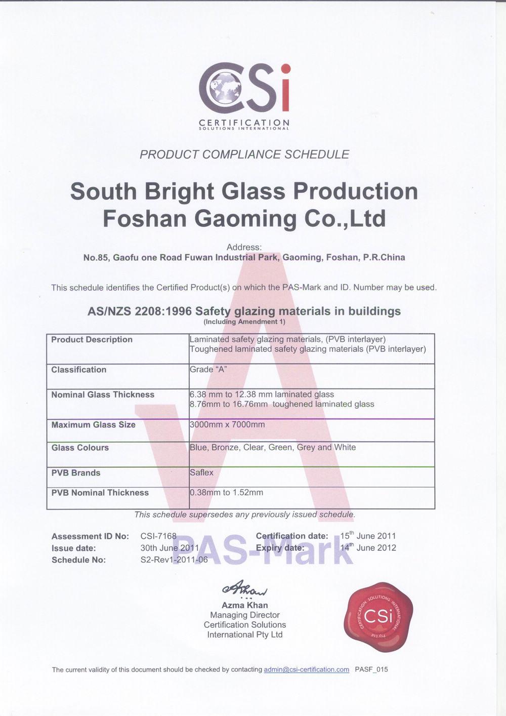 Certification for Australia Standard of Glass04