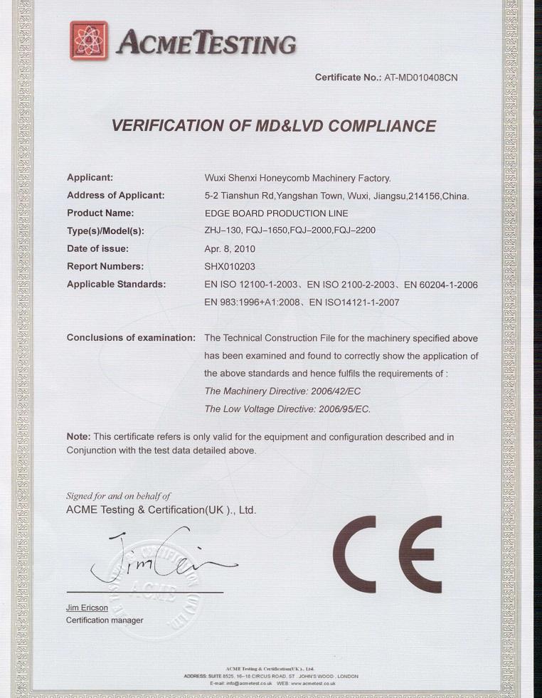 CE certiciate for edge board machine