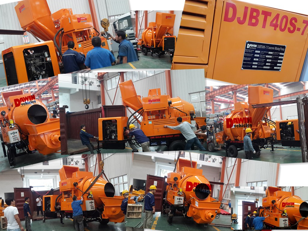 DAWIN DJBT 40m3/hr LOVOL diesel concrete mixing pump shipping to Philippines