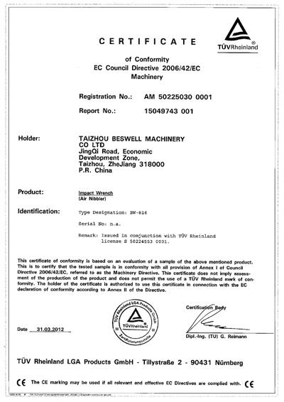 Air Nibbler CE certificate