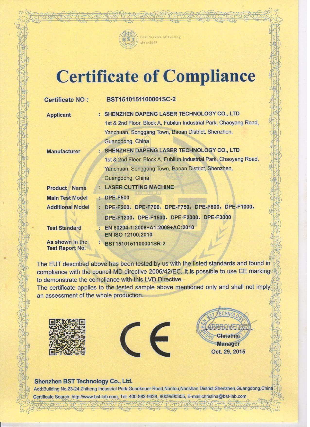 CE certificate for laser cutting machine