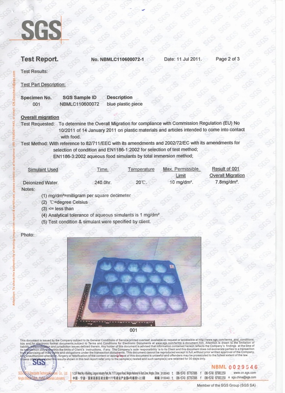 SGS Test Report for US FDA Standard for Plastic Food Tray