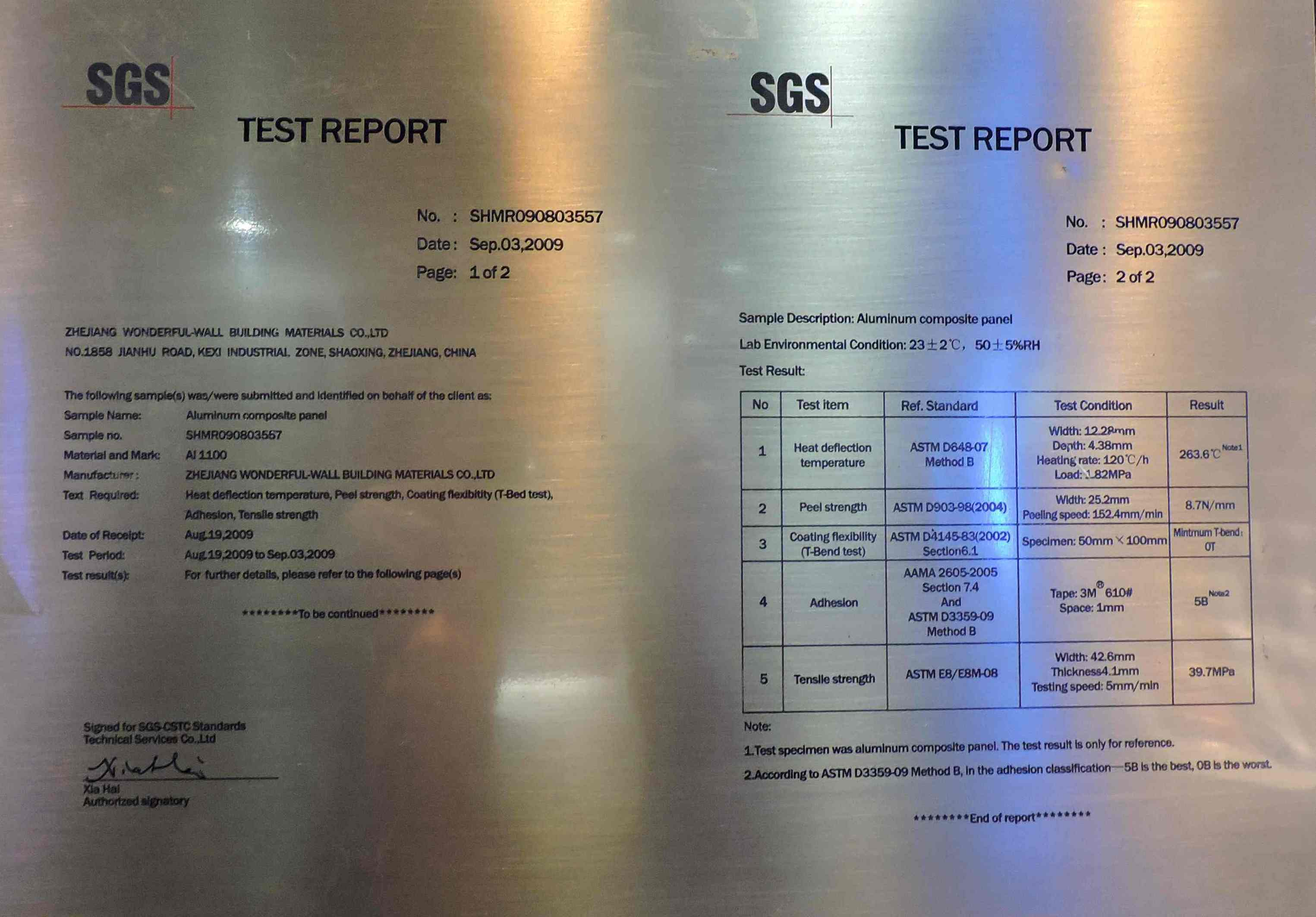 SGS Certificate for aluminum composite panel