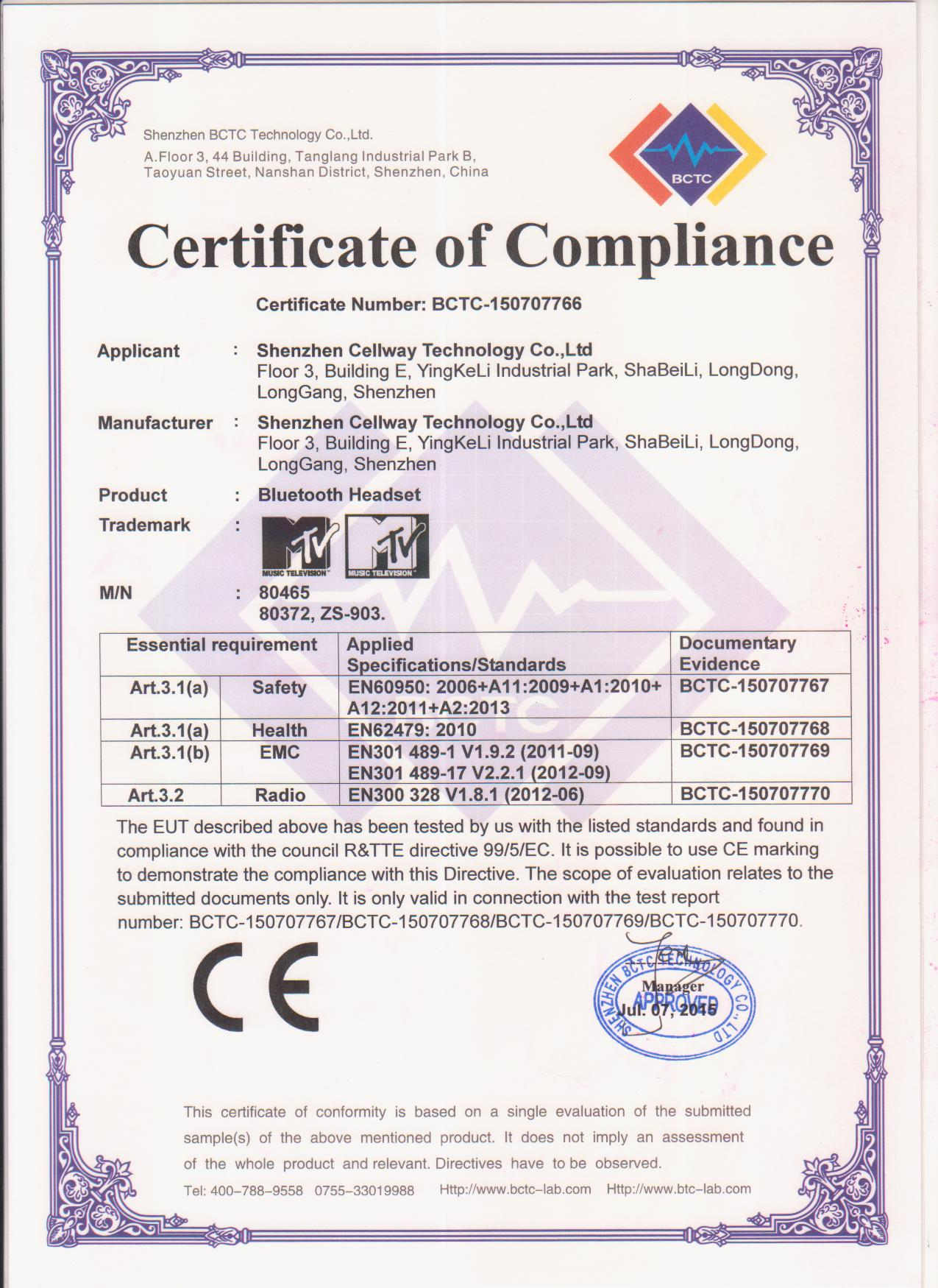 CE certificate of Bluetooth Headset