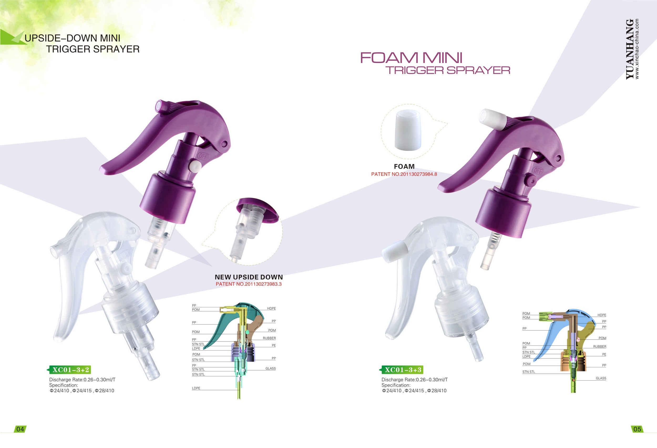 Upside-down and Foam Mini Trigger Sprayer XC01