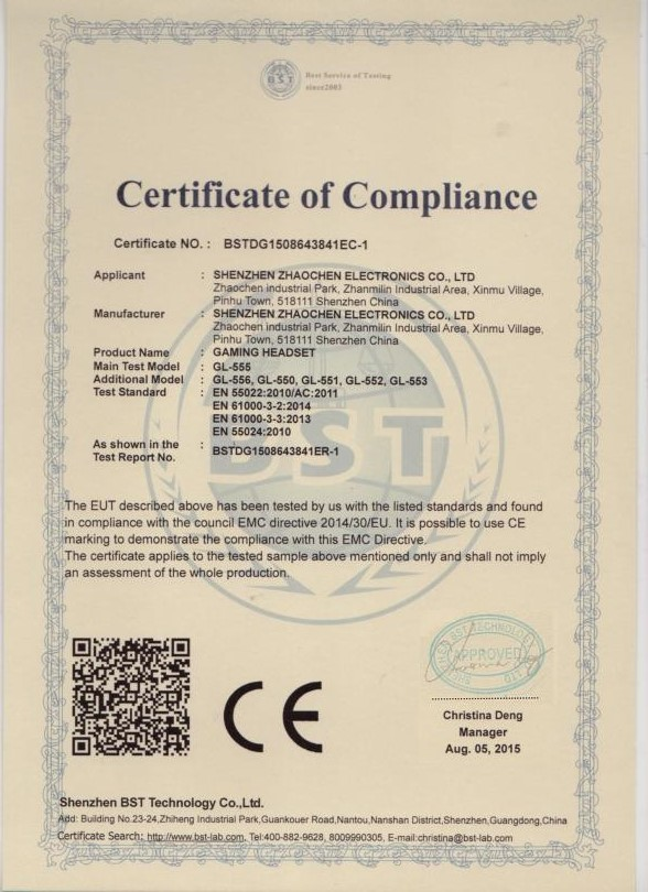 headphone CE certificate
