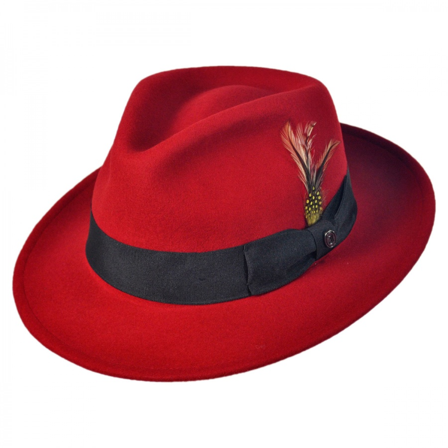 100% Wool Red Felt Fedora Hats with Feather