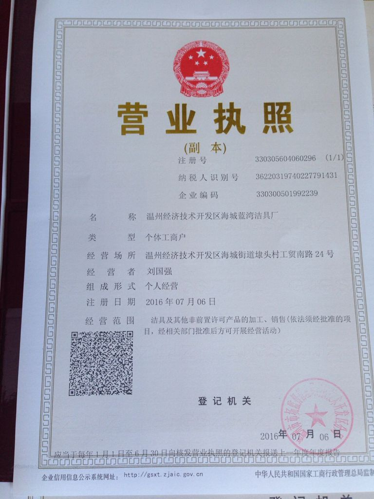Business Licence;