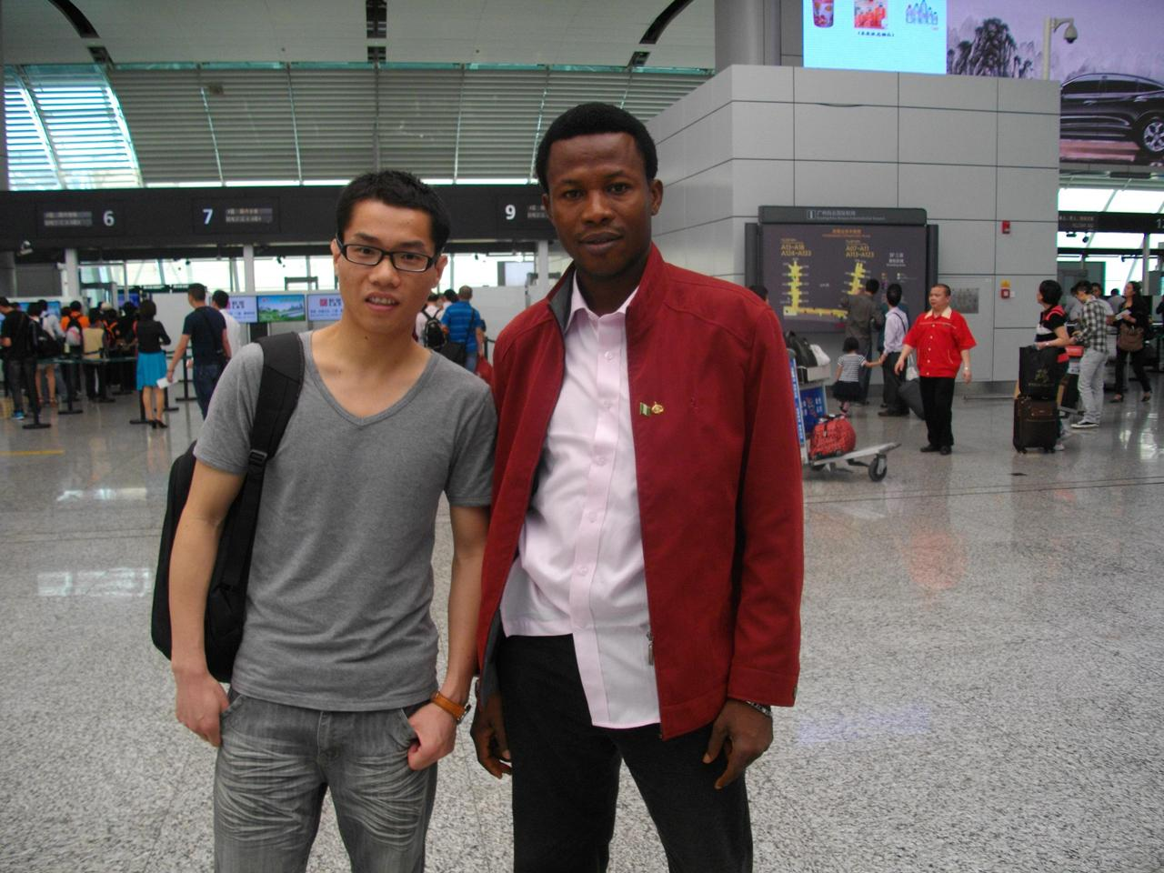Kevin seeing Nigerian guest off at Baiyun International Airport