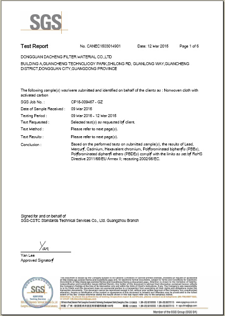 Product test certificate
