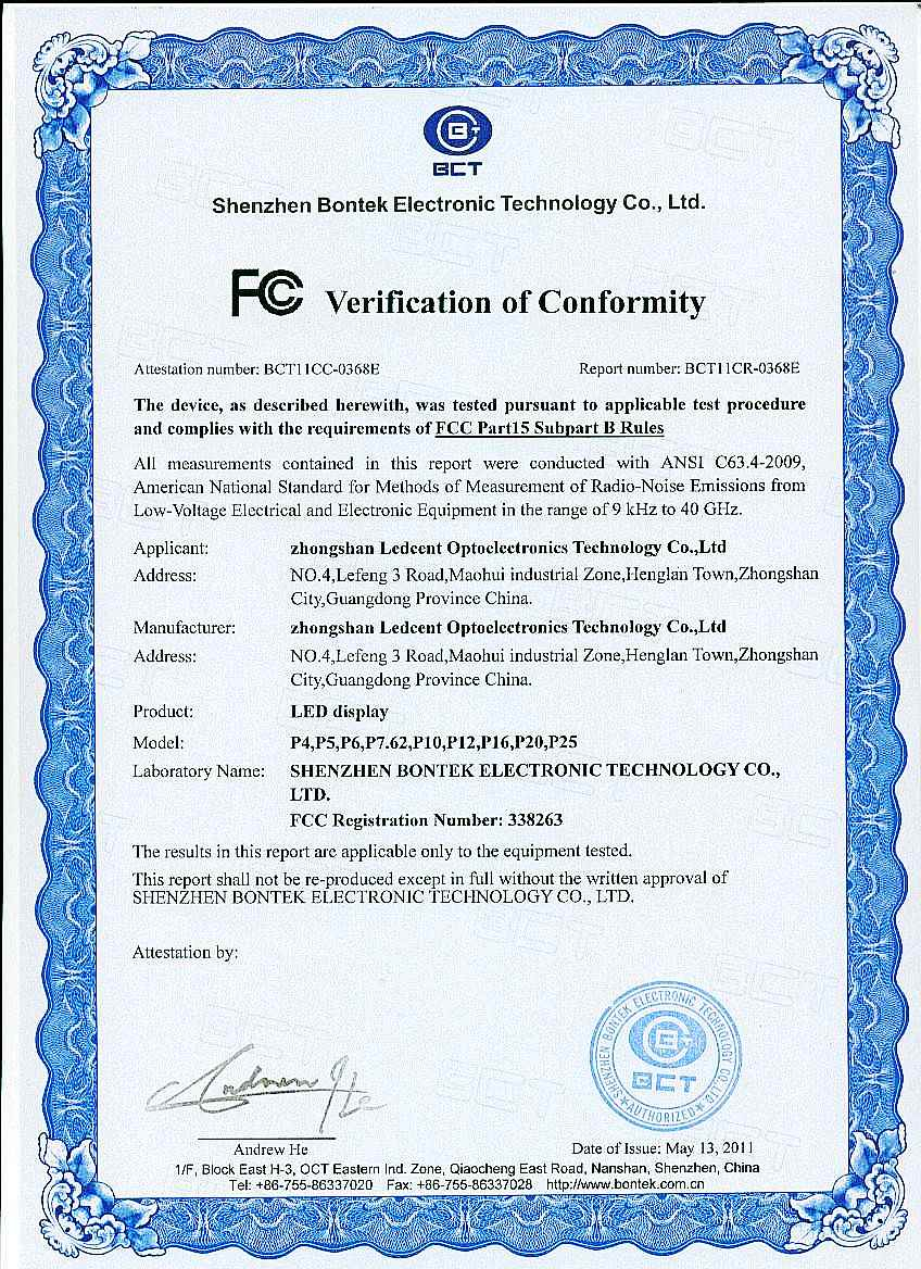 LED Display FCC Certifications