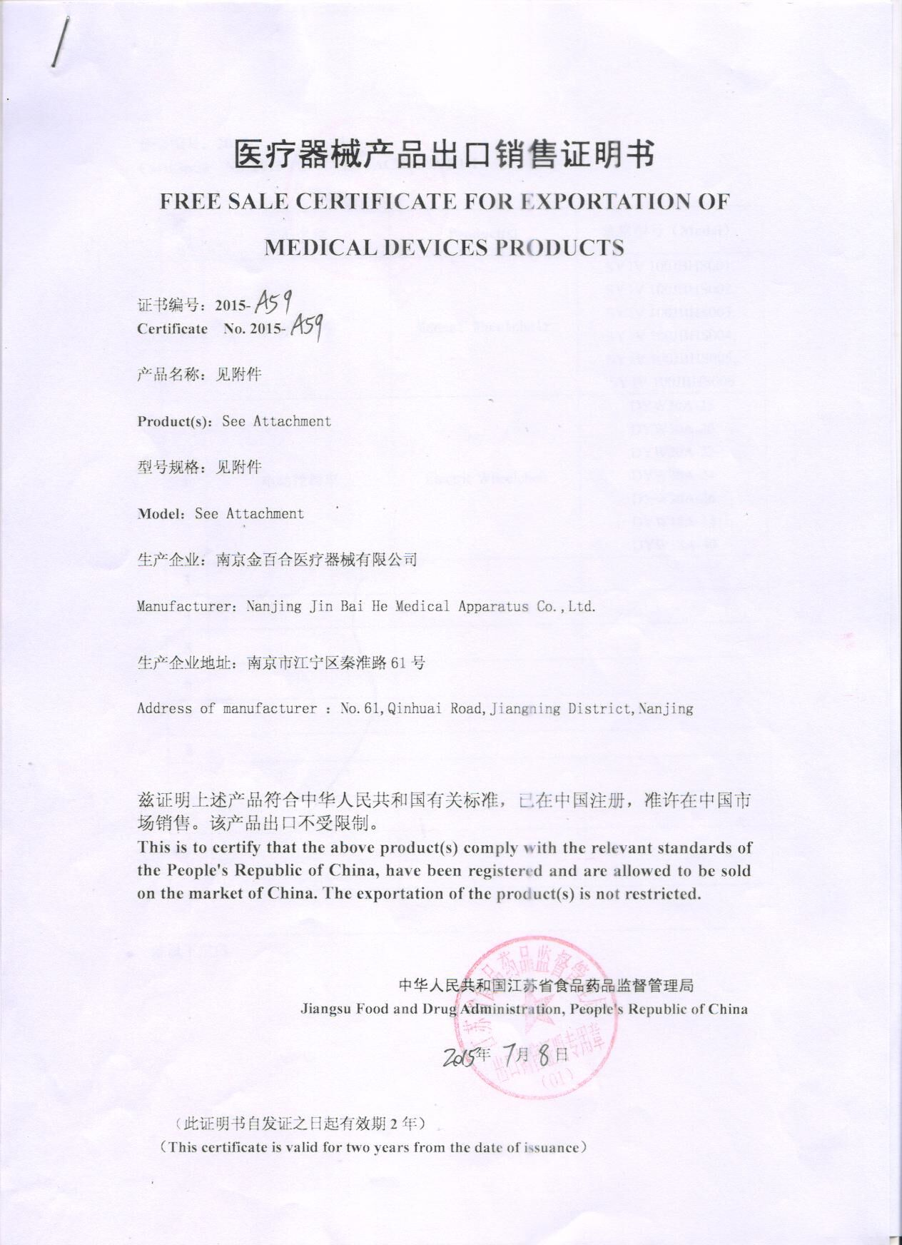 free sale certificate for exportation of medical device products