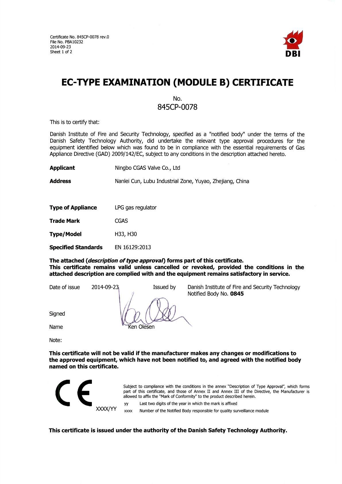 H30/H33 CERTIFICATE for HIGH PRESSURE REGULATOR