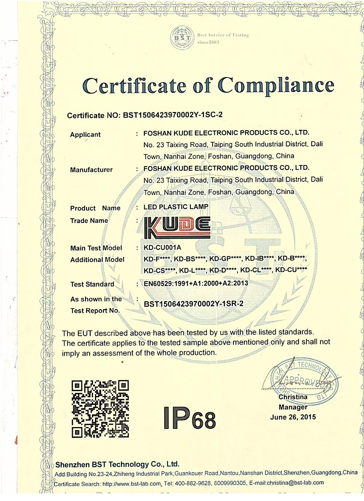 IP68 certificate