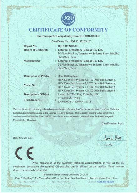 CE Certificate of Door Bell System