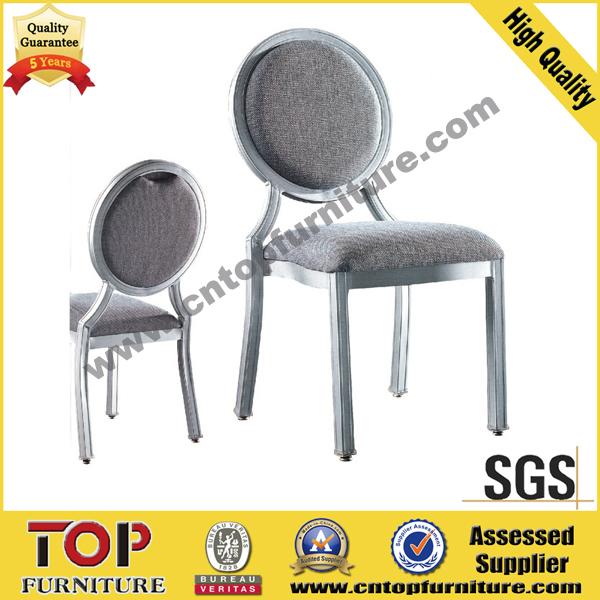 Elegant wood look metal hotel dining chair