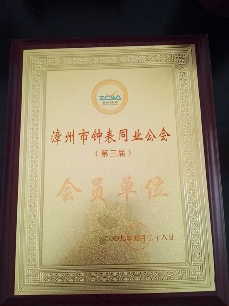 China horological association member certificate