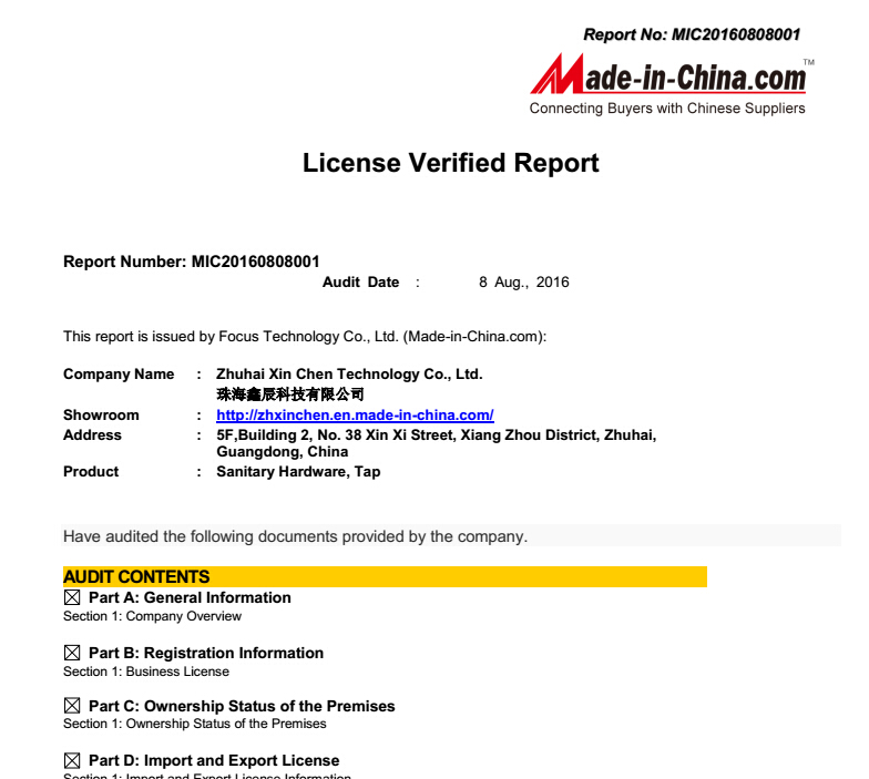 Company Business Certification Report From the Made-in-China