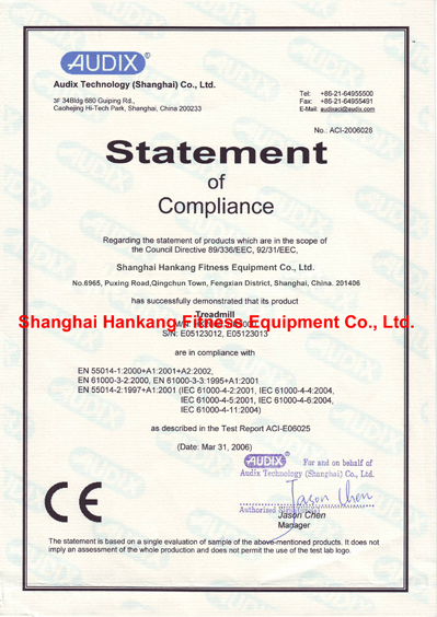 CE Certificate For HT-2008,HT-3000-Hankang Fitness