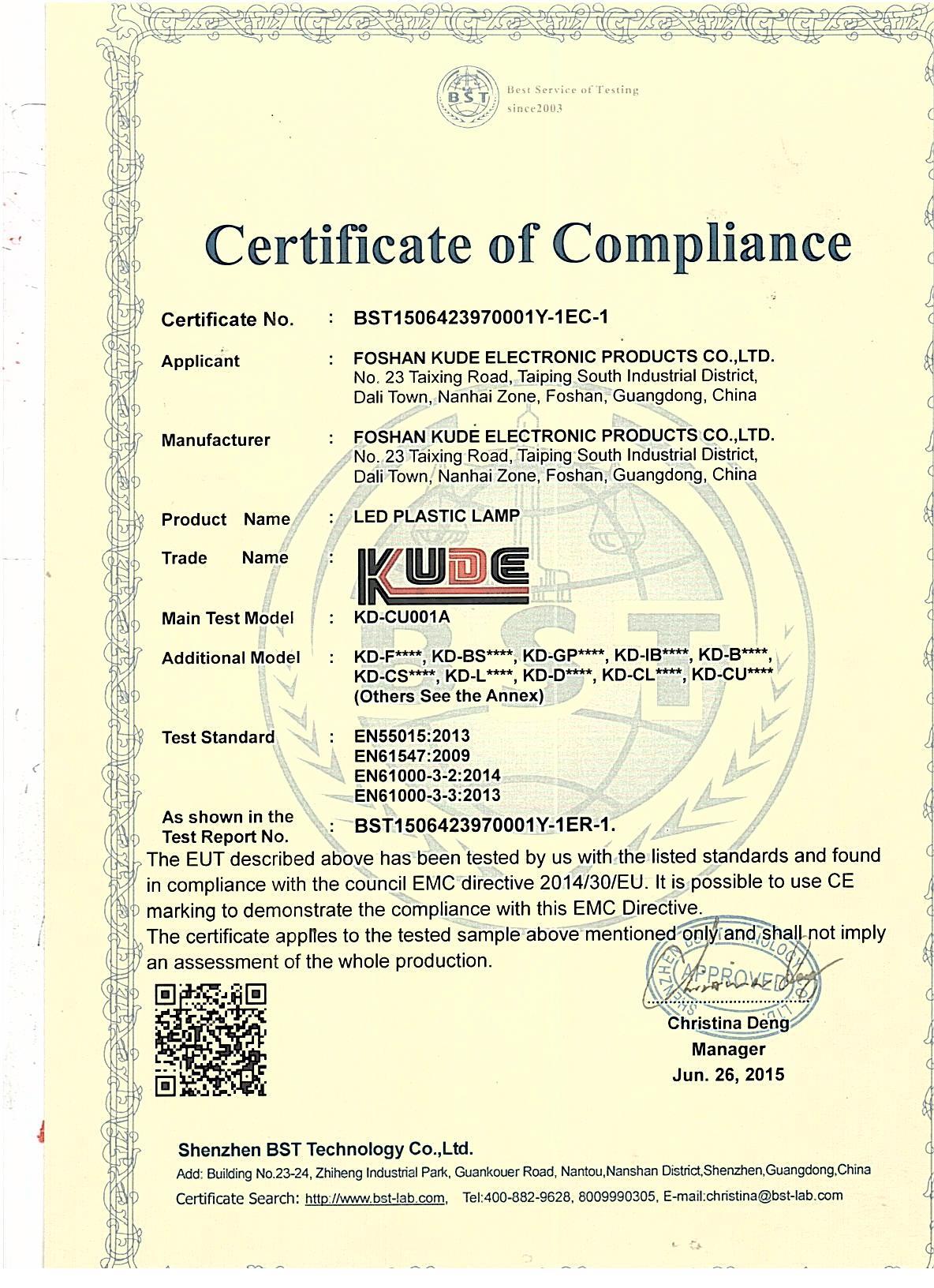 CE Certificate of Led Furniture