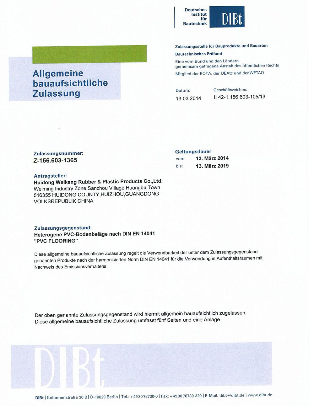 DIBT Certifications
