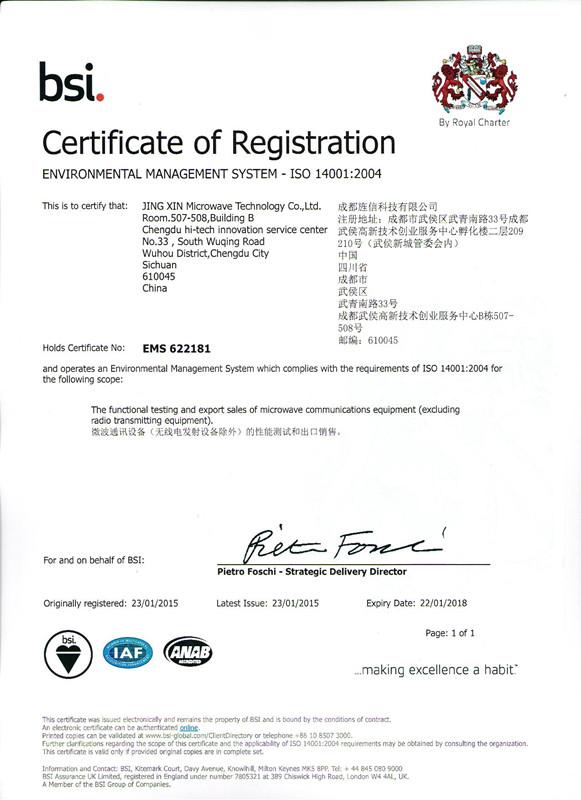 certificate of registration IS014001